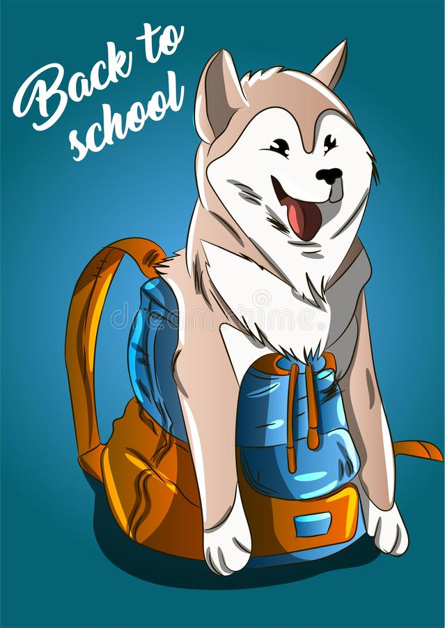 Back to school summer/autumn sale dog in a backpack illustration. Lazy Akita Inu race sitting in a school bag , cartoon draw. Ing royalty free illustration