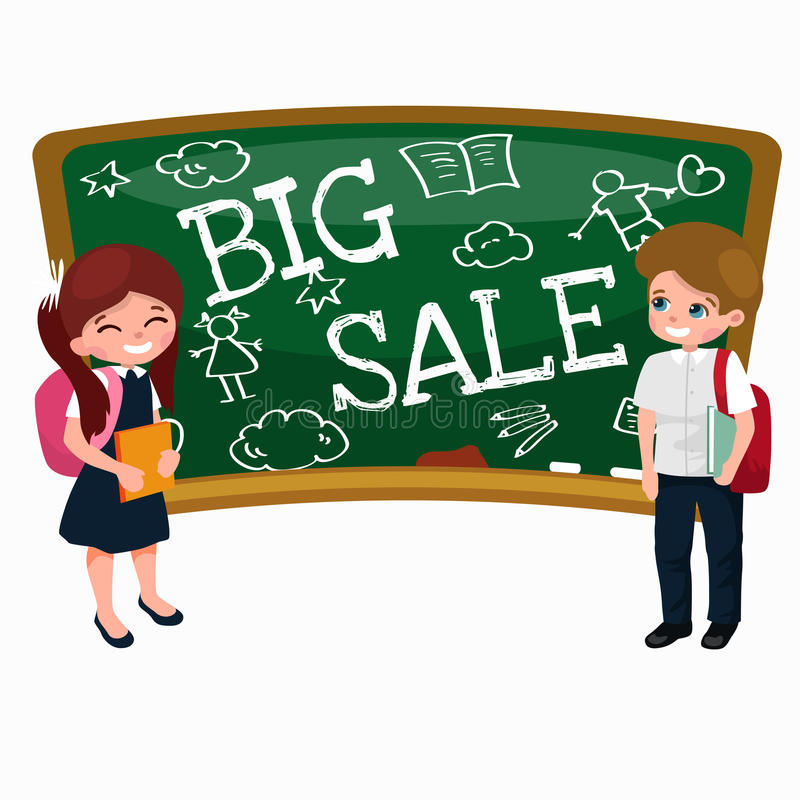 Back to School summer sale background. Boy and girl at the blackboard, education concept banner stock illustration