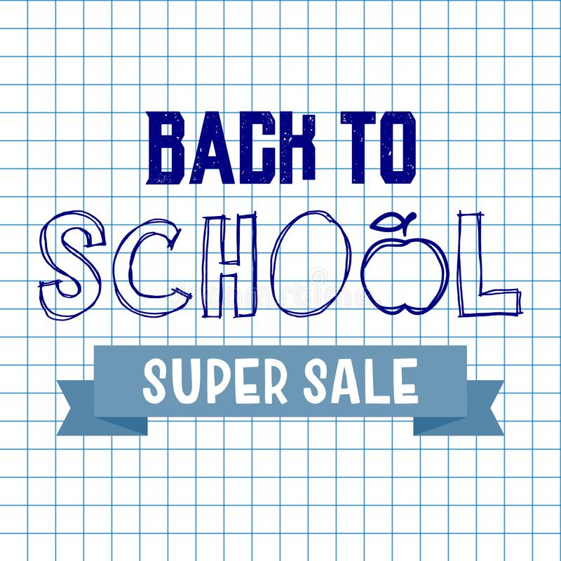 Back to school super sale background. Advertising tag concept.  vector illustration