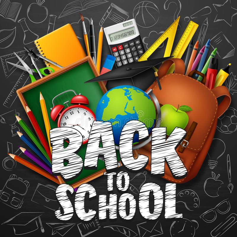 Back to School with school supplies and doodles on black chalkboard background stock illustration
