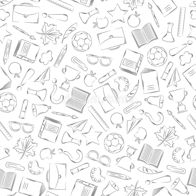 Back to school supplies doodles set royalty free illustration