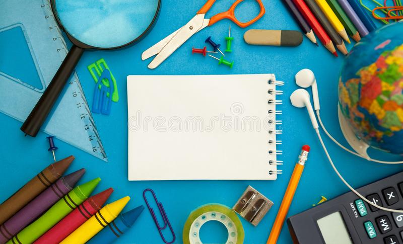 Back to school supplies, empty paper concept stock image