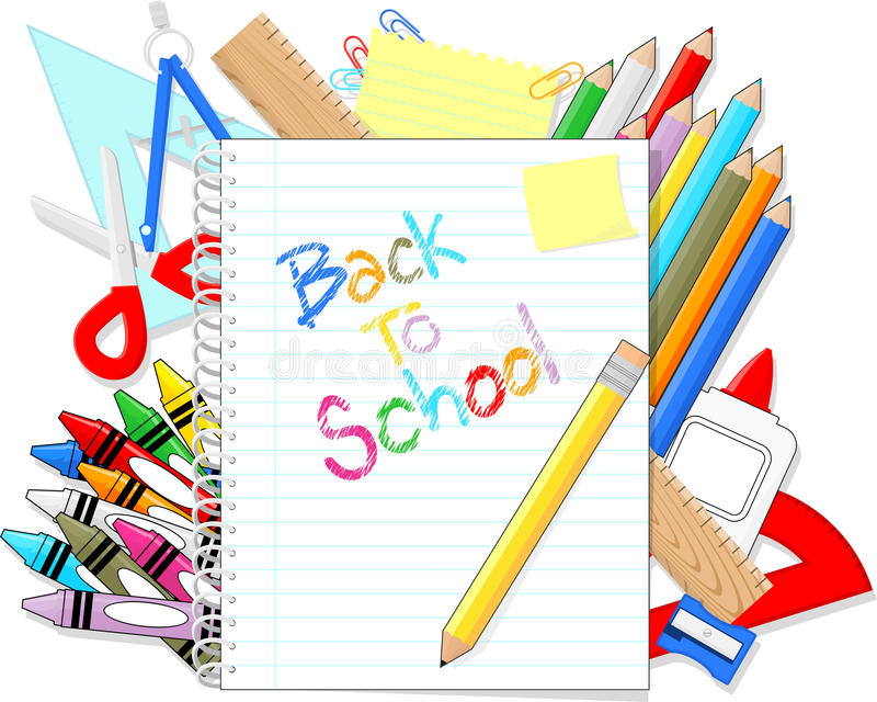 Back to school supplies items stock illustration