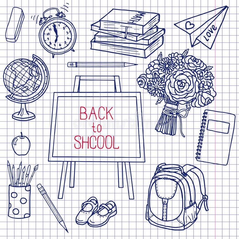 Back To School Supplies Sketchy Notebook Doodles With