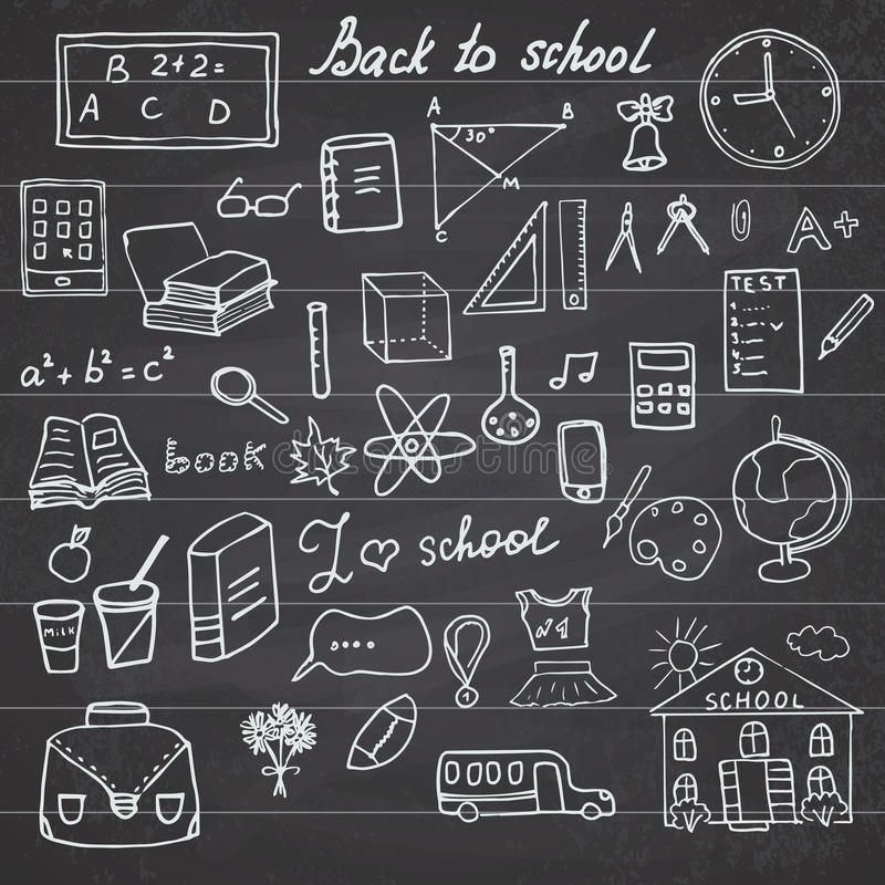 Back to School Supplies Sketchy Notebook Doodles set with Lettering, Hand-Drawn Vector Illustration Design Elements on Lined stock illustration