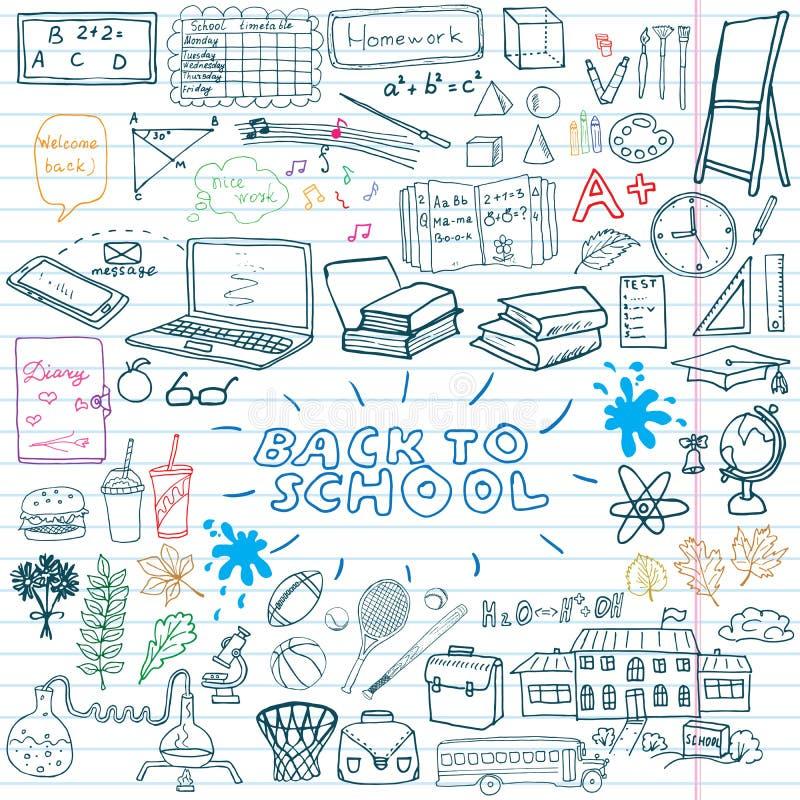 Back to School Supplies Sketchy Notebook Doodles set with Lettering, Hand-Drawn Vector Illustration Design Elements on Lined. Sketchbook on chalkboard vector illustration