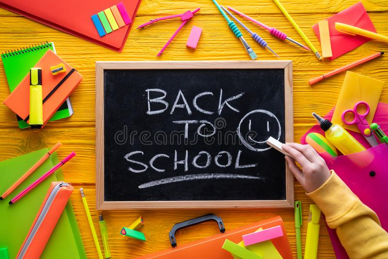 Back to school supplies vivid arrangement royalty free stock images