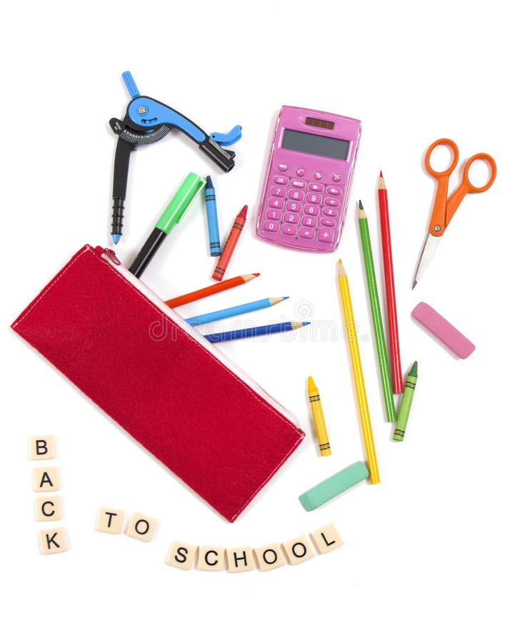 Back to school supplies on white background stock photography