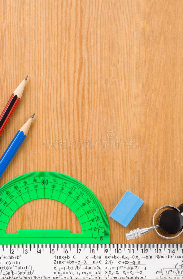 Download Back To School And Supplies On Wood Royalty Free Stock Images - Image: 23827499