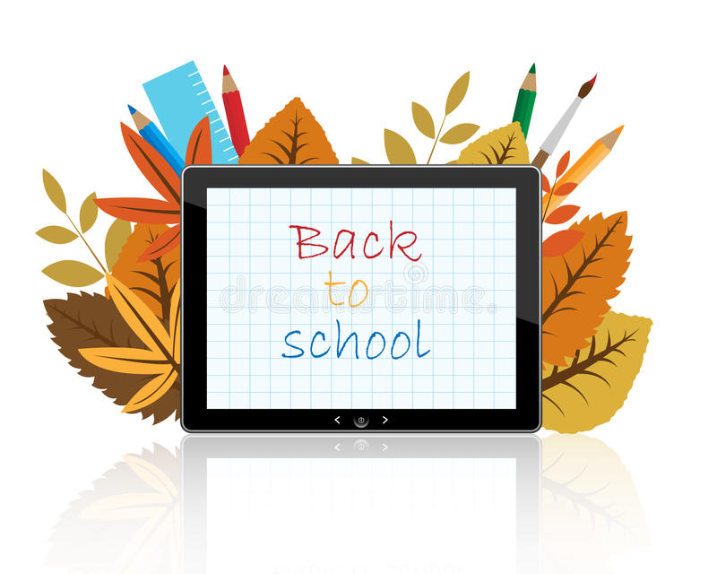 Back to school on tablet royalty free illustration