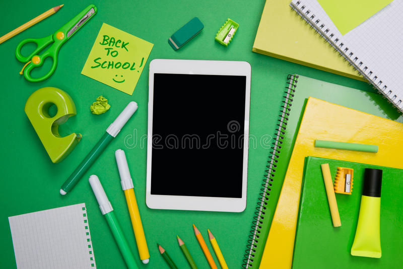 Back to school with tablet royalty free stock photo