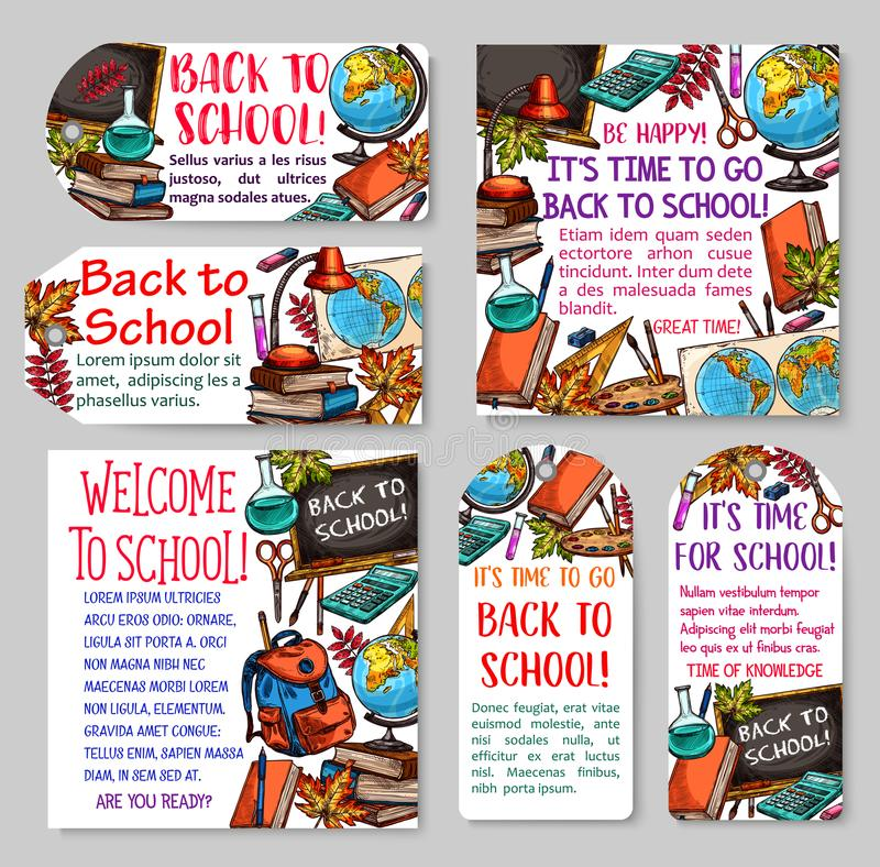 Back to school tag and label for sale design vector illustration