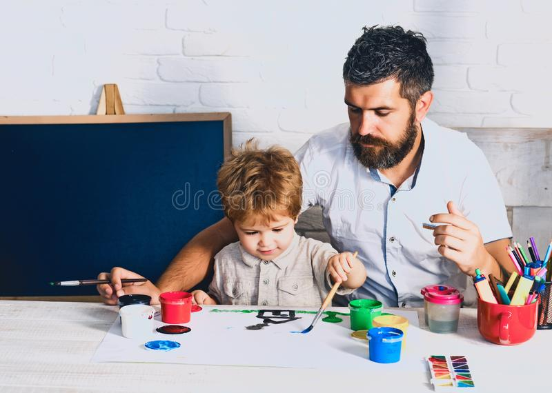 Back to school. Teacher and student in the class work and study. Welcome back to school. Pupil. royalty free stock photos