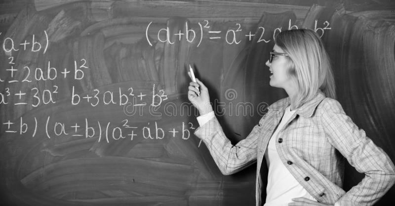 Back to school. Teachers day. Study and education. Modern school. Knowledge day. woman in classroom. School. Home royalty free stock photo