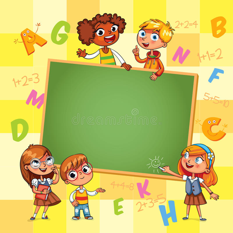 Back to school. Template for advertising brochure. Ready for your message. Happy children holding blank poster. Kid pointing at a blank template. Funny cartoon vector illustration