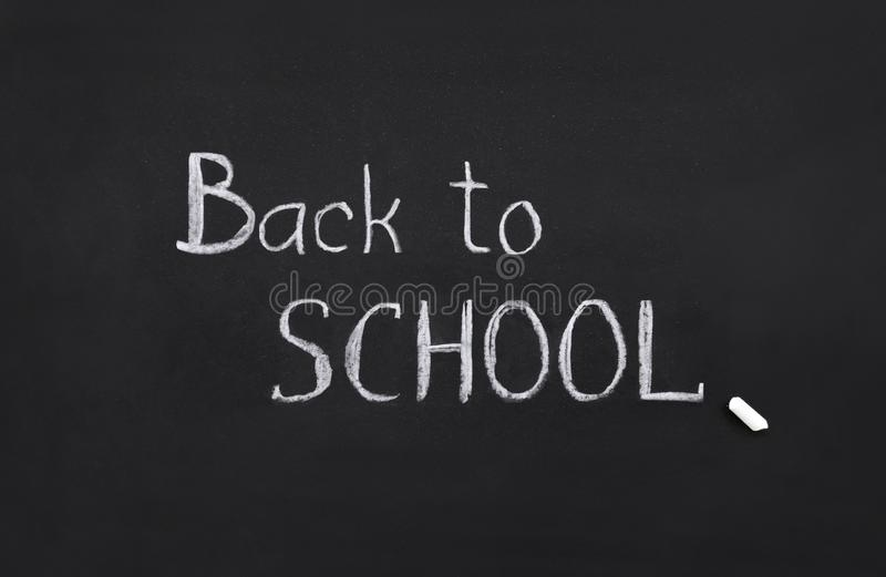 Back to school, template, handwritten in chalk, text on a black board, collage vector illustration