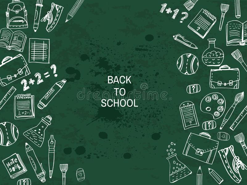 Back to school. Template poster design. Vector quote and set doodle school elements .Vector illustration stock illustration