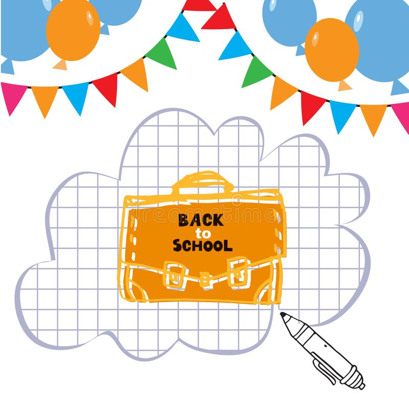 Back to school. Template poster design. Vector quote and set doodle school elements .Vector illustration vector illustration