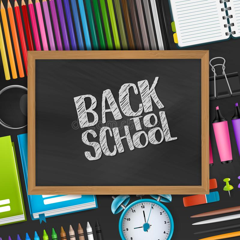 Back to school text on blackboard with wooden frame on a background with 3d realistic supplies for education. royalty free illustration