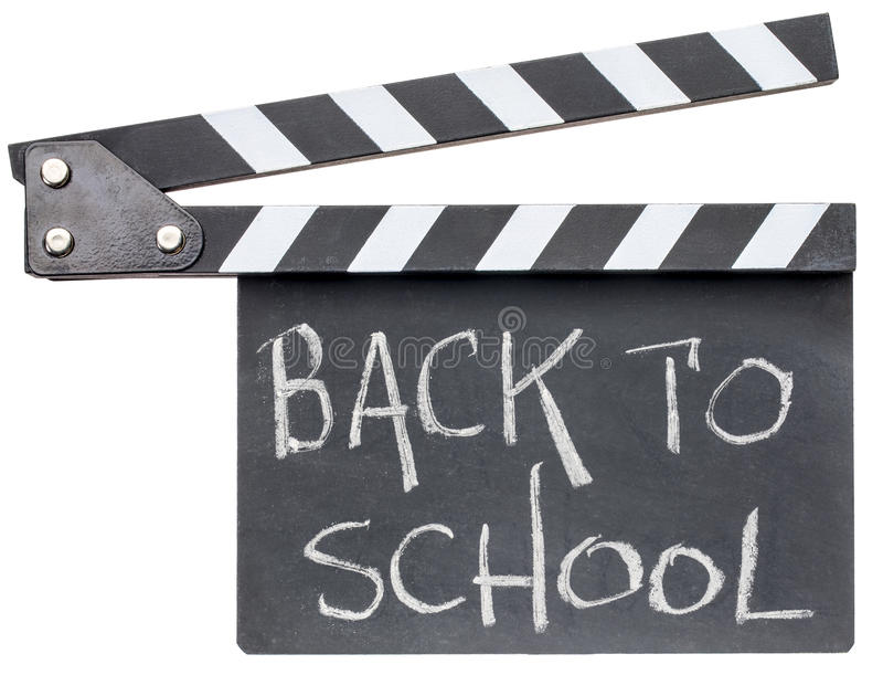 Back to school text on clapboard royalty free stock photos