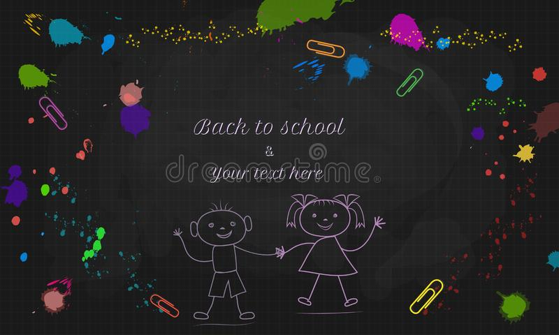 Back to School text design with doodle boy and girl isolated on black chalkboard background with colorful paint splashes. And splatter. Template for banner stock illustration