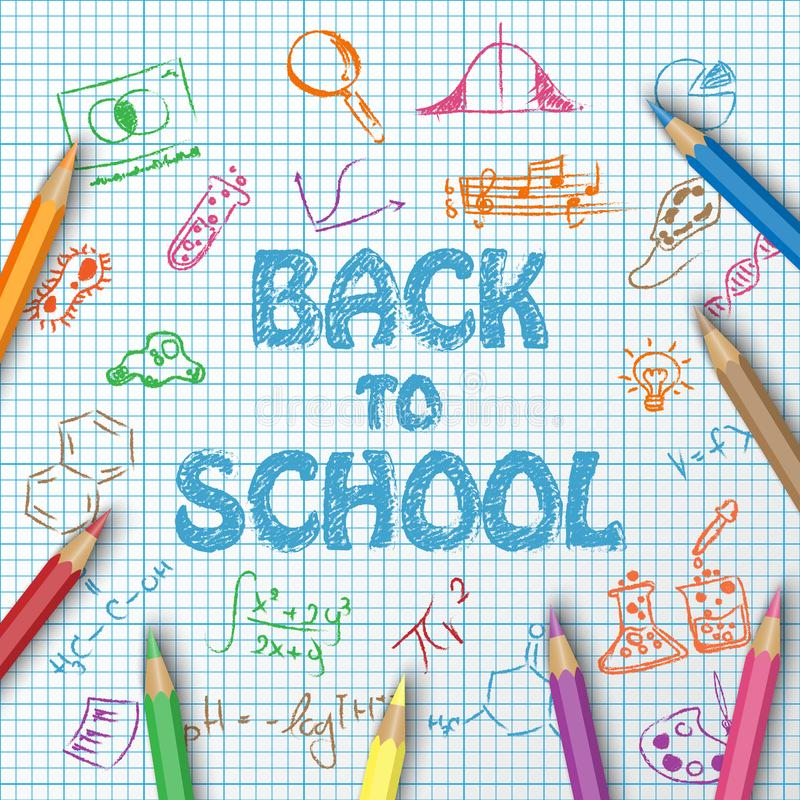 Back to school text drawing on paper graph with hand draw doodle stock illustration