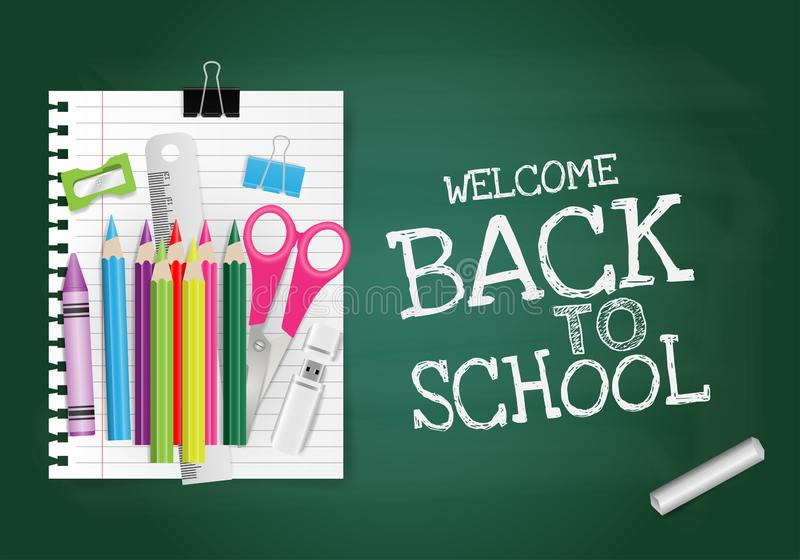 Back to school text on green chalkboard with alarm clock, crayon, notepaper, pencil, chalk vector illustration