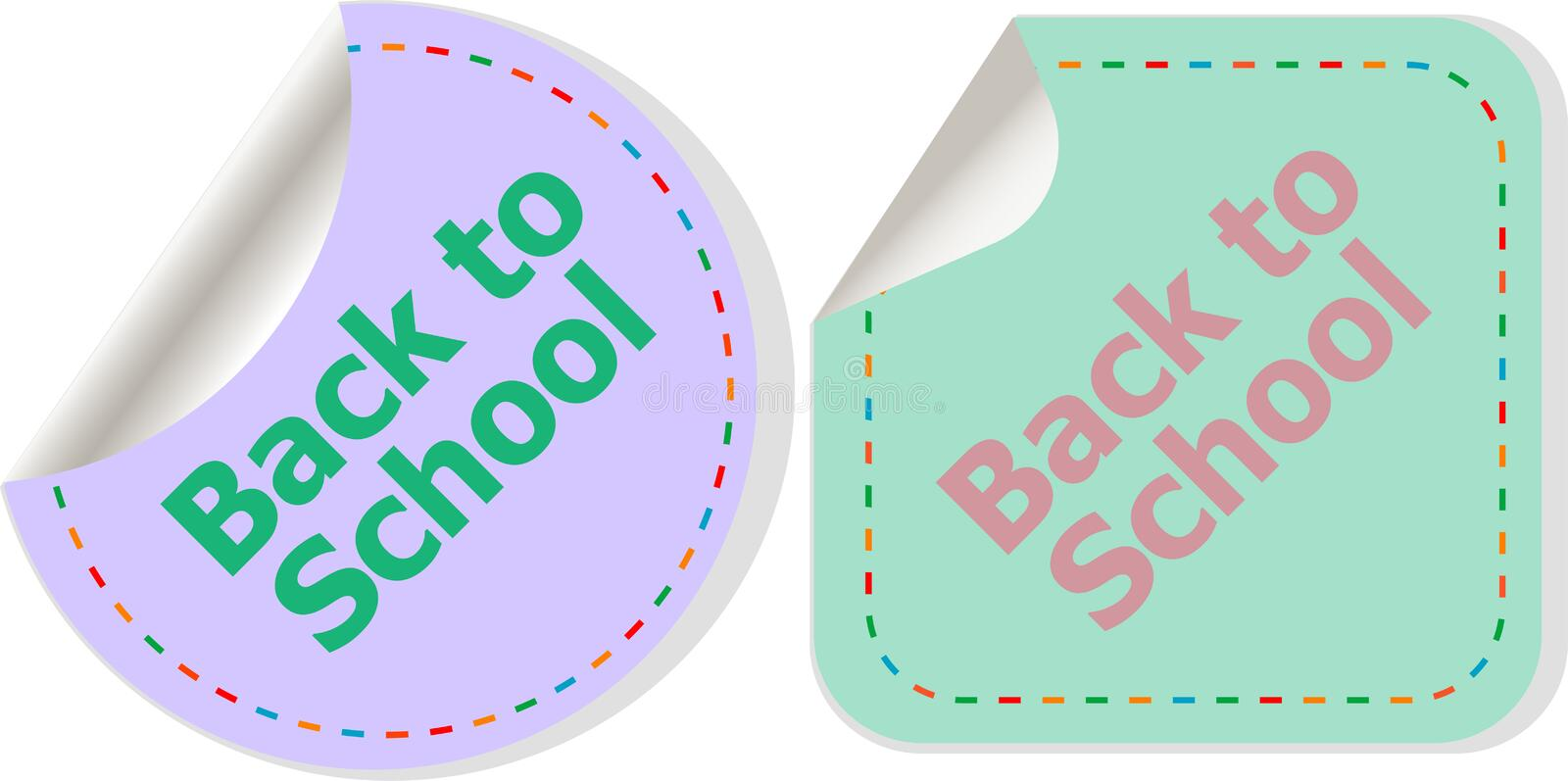 Back to school text on label tag stickers set isolated on white, education concept. Back to school text on label tag stickers set isolated on white, holiday stock illustration