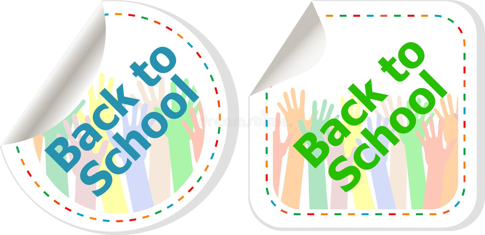 Back to school text on label tag stickers set isolated on white, education concept. Holiday concept vector illustration