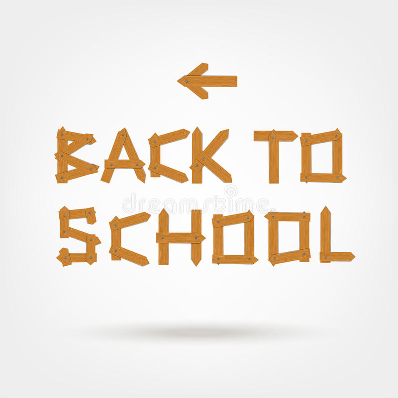 Back to school! Text made from wooden boards for stock illustration