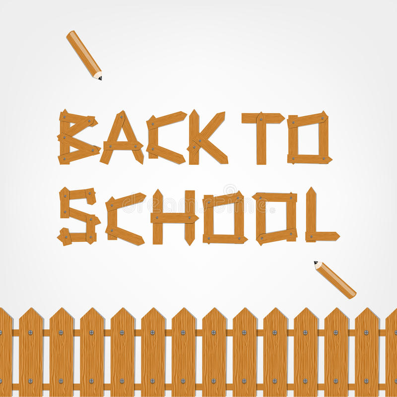 Back to school! Text made from wooden boards for royalty free illustration