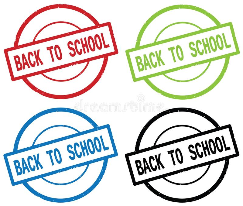BACK TO SCHOOL text, on round simple stamp sign. stock illustration