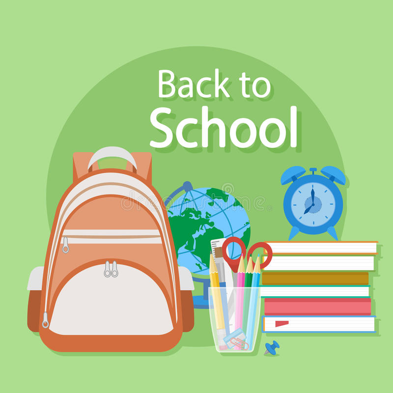 Back to school text. Schooling Flat concept background. stock illustration