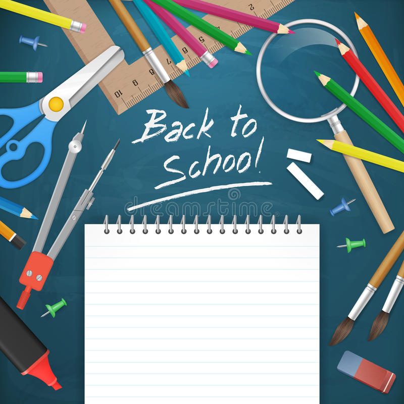 Back to school text with supplies illustration royalty free illustration