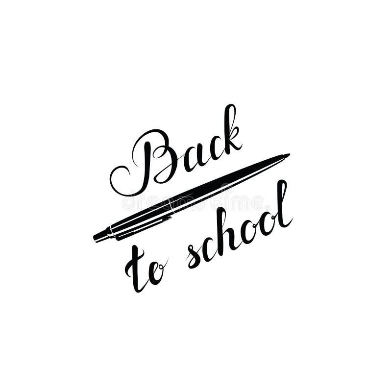 Back to school text. vector pen. handwritten calligraphic inscription. design element for greeting card, T-shirt, banner, stock illustration