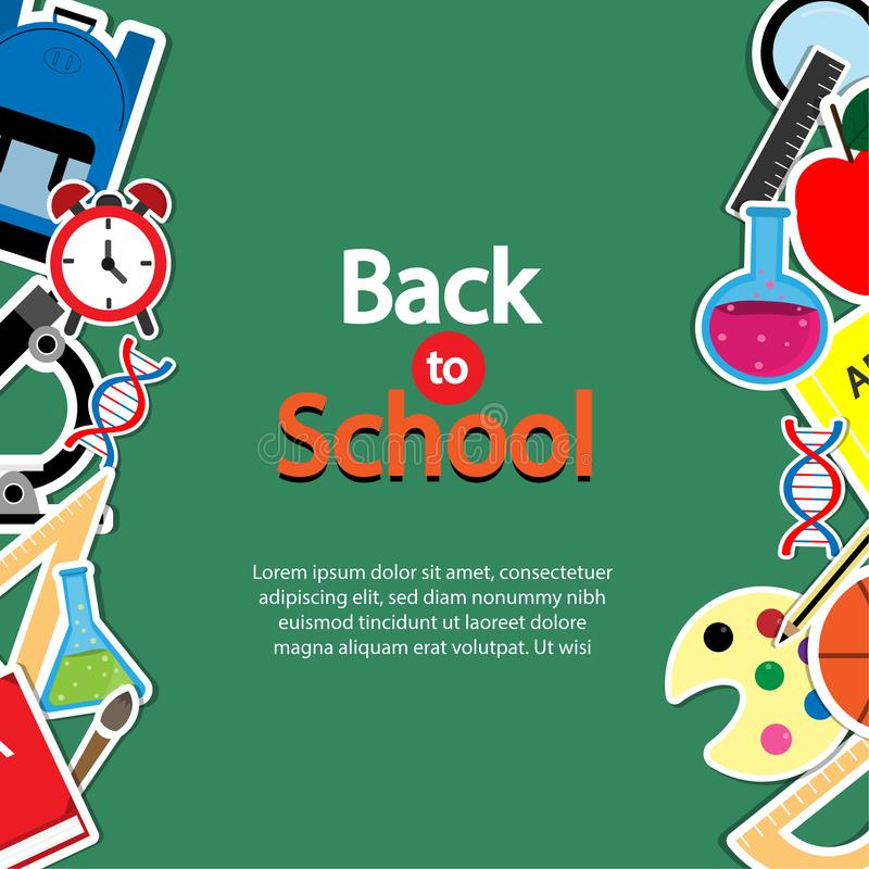 Back To School Theme Icon Set on Chalkboard Textured Backdrop. Arts and Science Stickers. Education Concept. stock illustration
