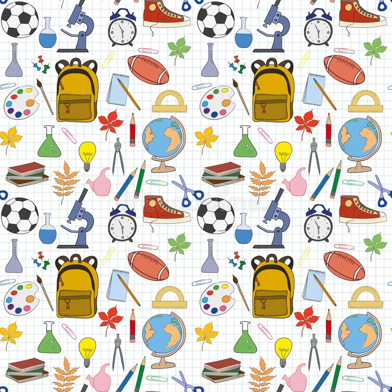 Seamless pattern with stationery stock illustration