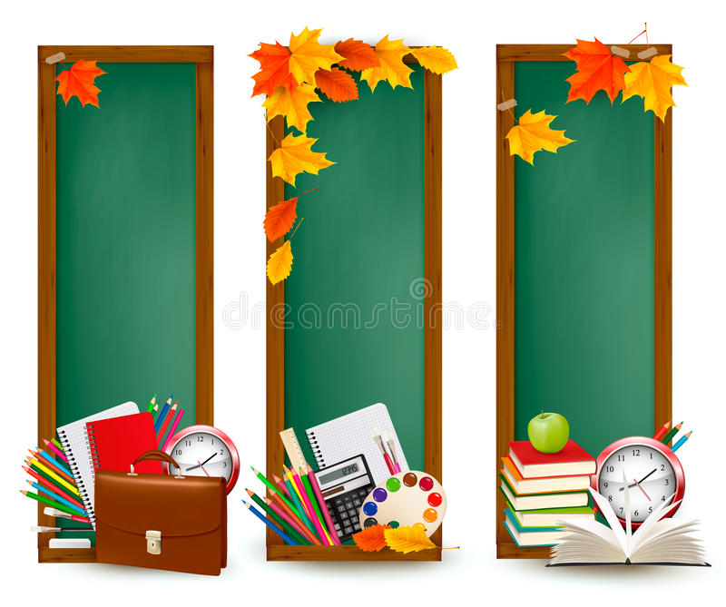 Back to school Three banners with school supplies royalty free illustration