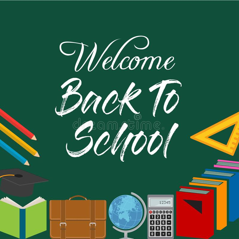 Back to School Title Words with Realistic School Items With Colo. Red icons in a green Background. Vector Illustration. For web design and application interface vector illustration