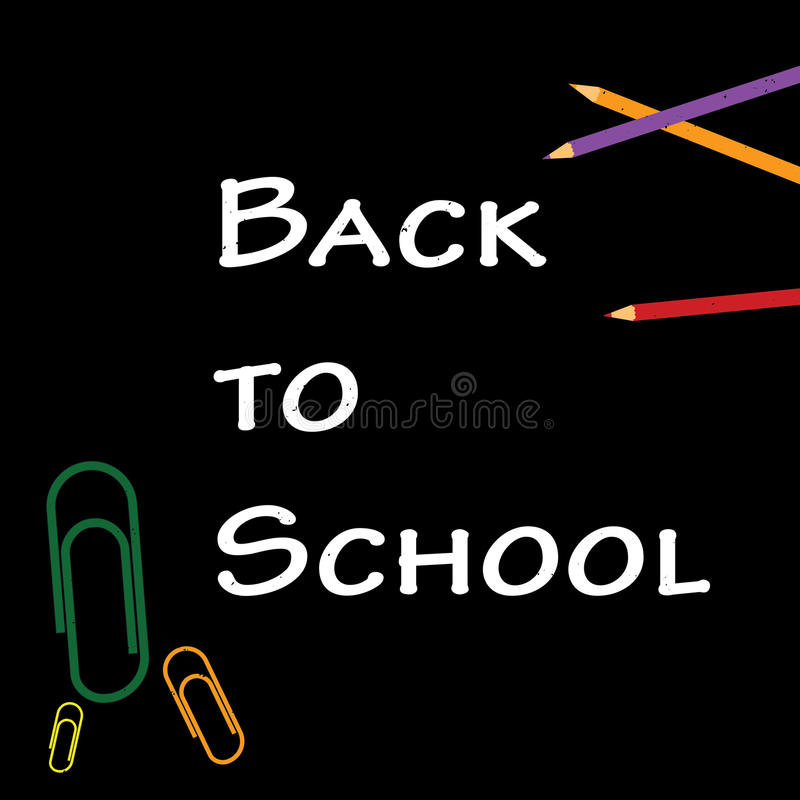 Back to school title words with school items stock image