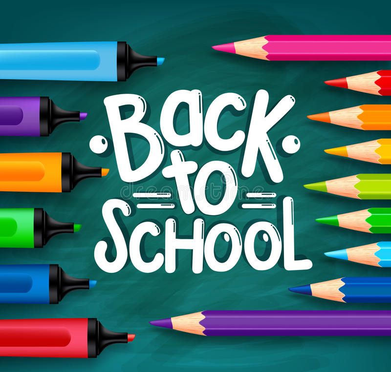 Back to School Title Words Written in a Green Chalkboard royalty free illustration