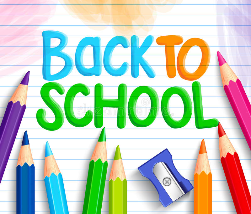 Back to School Title Words Written in a White Line Paper royalty free illustration