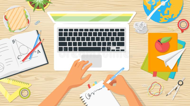 Back to school top view. School workplace. Overhead desk top view. Vector illustration. Kids hands. Stationery and various education and studying things around stock illustration