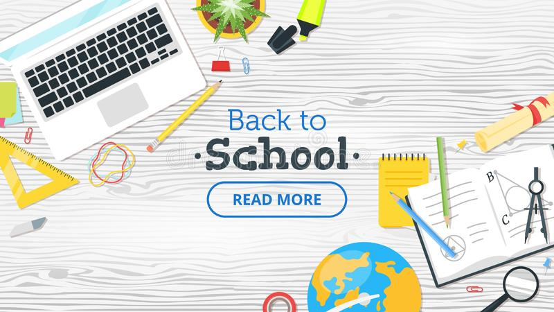 Back to school top view vector illustration