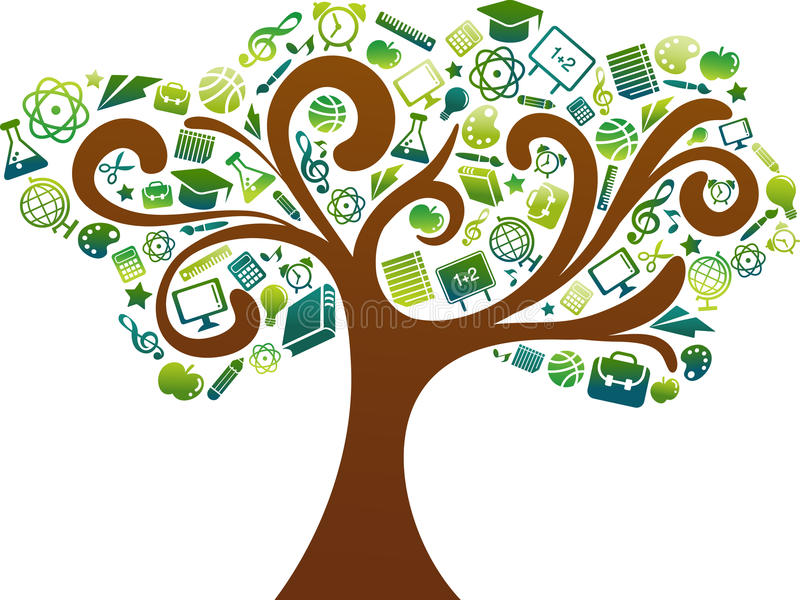 Back to school - tree with education icons vector illustration