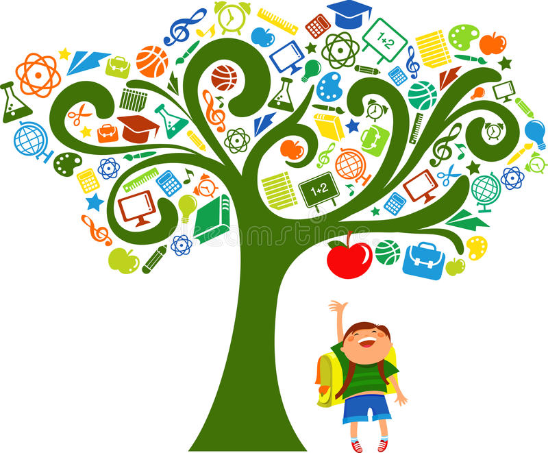Back to school - tree with education icons stock illustration