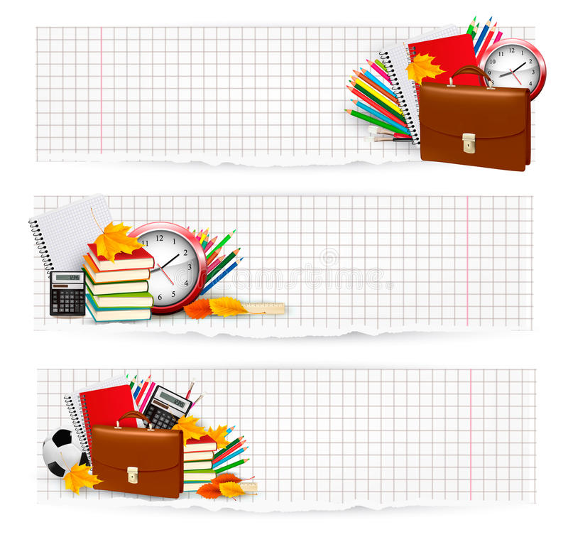 Back to school. Two banners with school supplies. royalty free illustration