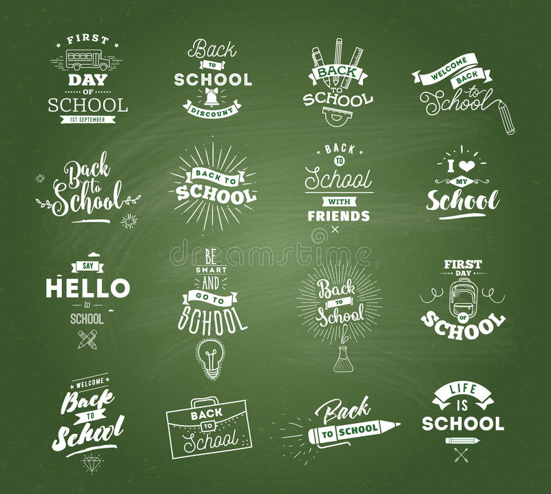 Back to school typographic labels set. Isolated vector elements. First day of school emblems. Calligraphy, lettering design. Usable for greeting cards, posters stock illustration