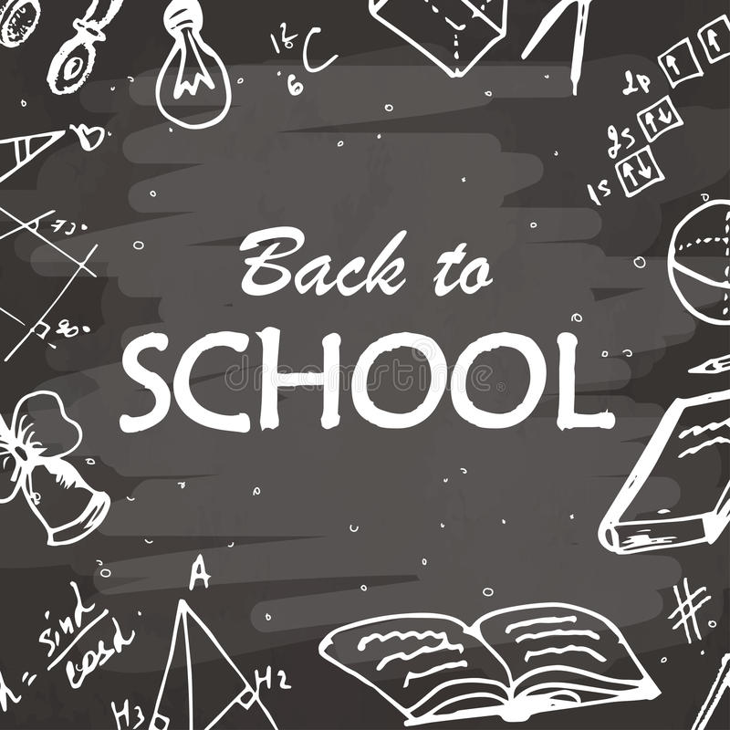 Back to school typographical background. Freehand drawing icon elements on chalkboard. Sketch vector illustration. royalty free illustration