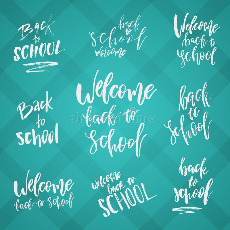 Back to School Typography Set - Vintage Style Lettering Sale Design Layout. Vector badges, labels and logos for royalty free stock photography